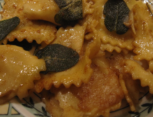 What is better than melted, cooked butter, yummy ravioli and fresh sage leaves.