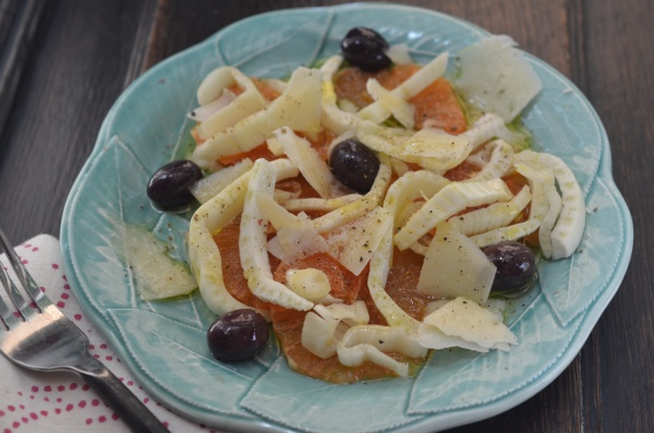 Fennel, orange and olive salad is great with or without the arugula bed.