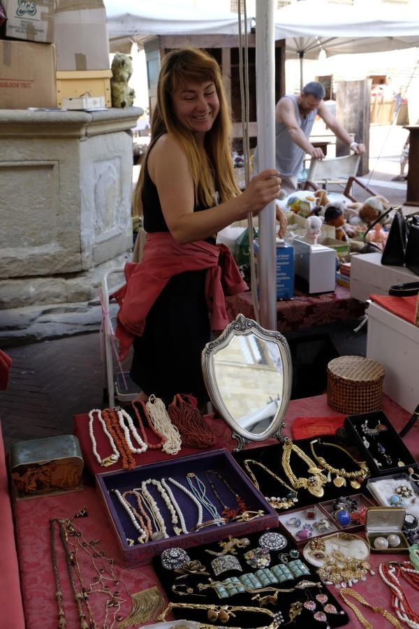 Tatiana's jewelry table at the Arezzo Antique/Flea Market.