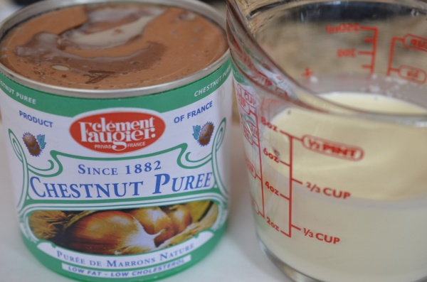 Chestnut pureé plus cream for the base of chestnut soup.