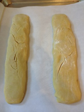 These are the two anise biscotti before the first baking.
