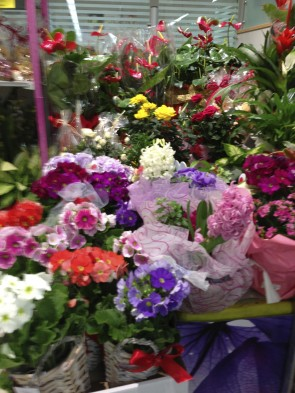 A few of the floral arrangements for sale in the run up to Valentine's Day Italian-Style.