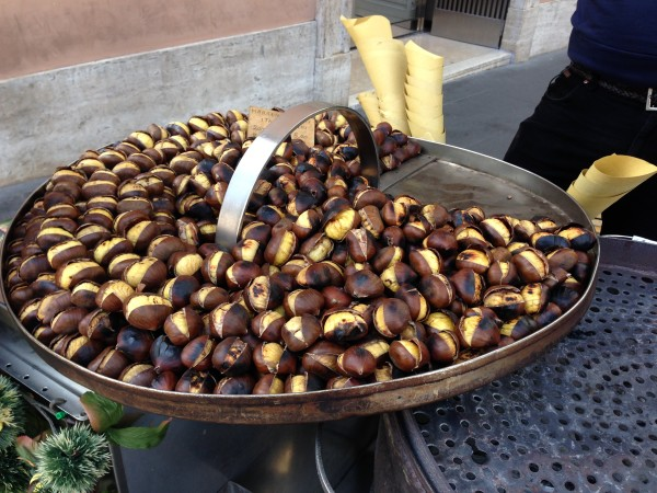 Roasted marron chestnuts for sale on the streets of Rome.