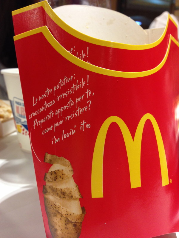 McDonald's Invades the Upper Tiber River Valley and we have the empty fries box to prove it.