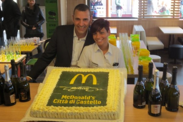 I'm sorry we missed the champagne and cake when McDonald's opened in Citta di Castello, Italy.
