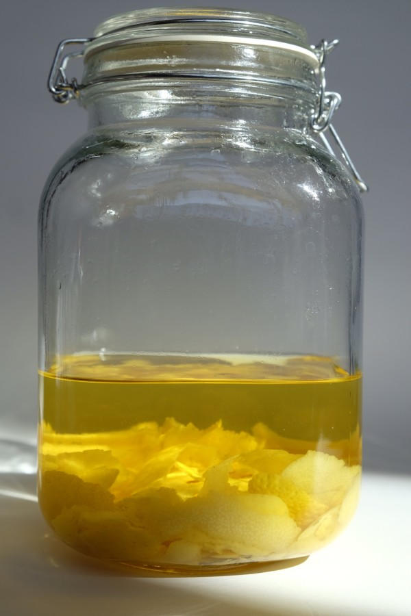 If you wonder how to make limoncello, it's easy. Vodka, sugar, water, lemon peels and time.