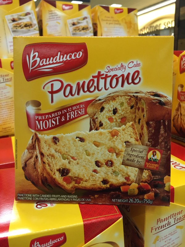 The stores bring out the holiday panetonne early so you can plan your ice cream panetonne dessert.