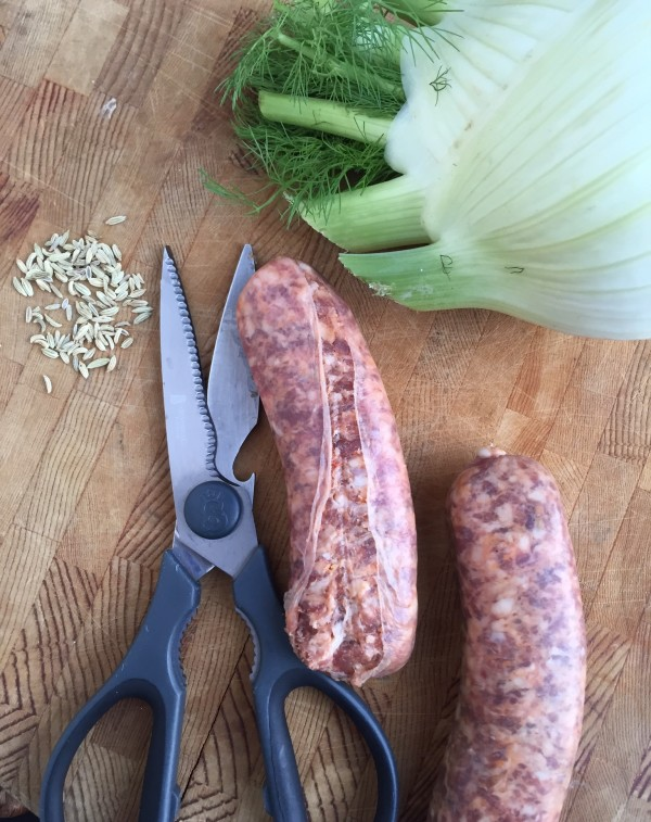 These are your big three ingredients: fresh fennel, fennel seeds and Italian sweet sausage that has been removed from its casing.