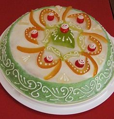 A view of a true cassata cake decorated in the sicilian baroque style.
