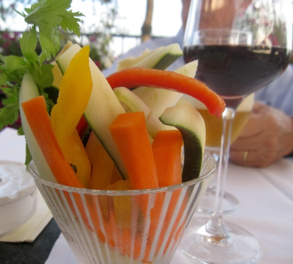 A portion of pinzimonio (cut vegetables) on the table can be used to sop up your bagna cauda.